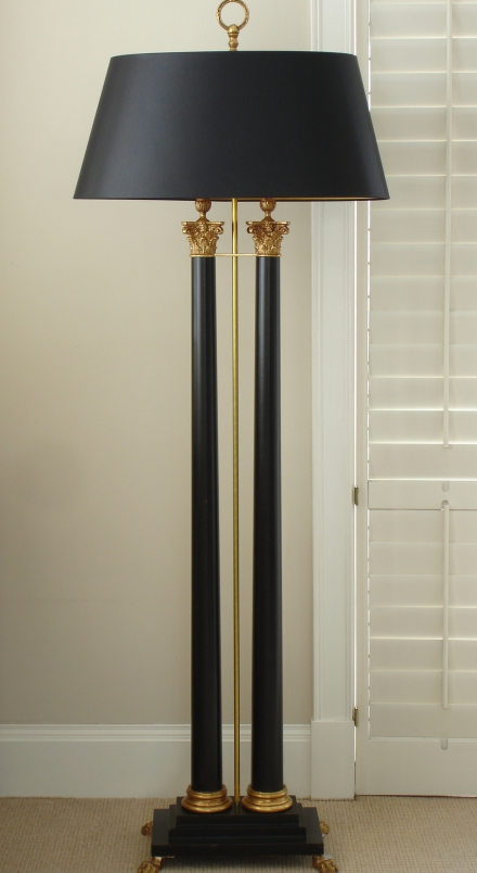 Double column corinthian floor lamp empel collections for Used wood floor lamp