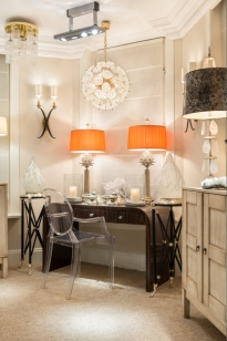Showroom, ART DECO desk vignette, Artichoke lamps.