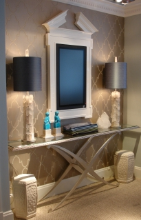 Showroom monitor wall, x frame console table