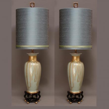 Vintage Paar Craquelé CELADON Vaas Lampen.