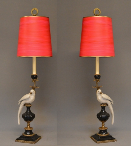 Symmetrical Pair Of Parrot Table Lamps/ Candle Sticks.