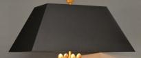 Gevouwen rechthoekige verstevigde kap zwart chintz gold lined